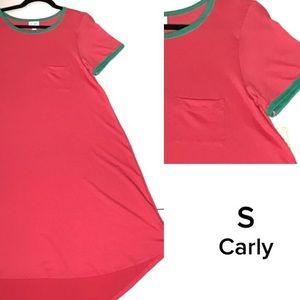 LuLaRoe Small Carly pink and green dress